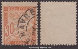 30c Banderolle Erreur De Couleur ROUGE-ORANGE Aspect TB (Y&T N° 34, Cote 100€) - Postage Due