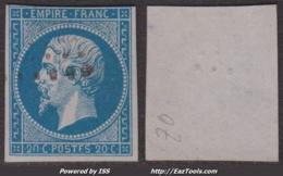 Variété POST_F_S Sur 20c Empire Non Dentelé TB (Y&T N° 14Ah, 75€) - 1853-1860 Napoléon III