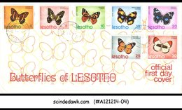 LESOTHO - 1973 BUTTERFLY / BUTTERFLIES OF LESOTHO - 7V - FDC - Lesotho (1966-...)