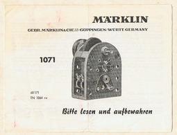 Gebrauchsanweisung Märklin Elektromotor 1071. - Maschinen