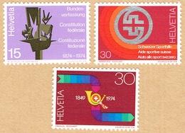 ** LA SERIE NEUF 1974 C/.S.B.K. Nr:558/560. Y&TELLIER Nr:965/967. MICHEL Nr:1039/1041. ** - Suisse