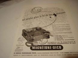 ANCIENNE PUBLICITE MAGNETONE  DICO 1950 - Musique & Instruments