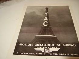 ANCIENNE PUBLICITE MOBILIER METALLIQUE DE BUREAU YAC 1950 - Autres Collections