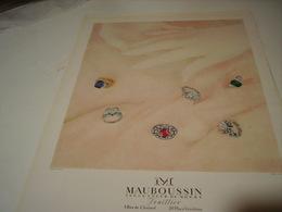 ANCIENNE PUBLICITE JOAILLIER MAUBOUSSIN 1950 - Bijoux & Horlogerie