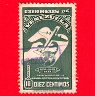 VENEZUELA - Usato - 1950 - 75 Anni Dell'UPU - Unione Postale Universale - 10 - Venezuela