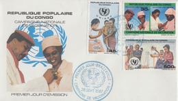 Enveloppe   FDC  1er  Jour    CONGO   Campagne  Nationale  De  Vaccination   1987 - FDC