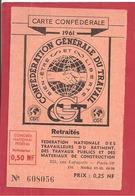 CARTE CGT  1961 - Labor Unions