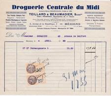 Facture De Béziers (34) - 4 Avril 1933 - Droguerie Centrale Du Midi - Ets Teillard & Beaumadier - Timbre Fiscal TF 9-15 - Droguerie & Parfumerie