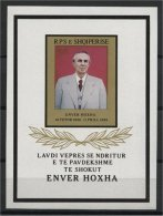 ALBANIA, DEATH OF ENVER HOXHA 1985, SOUVENIR SHEET NEVER HINGED - Albanie