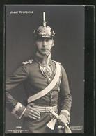 AK Kronprinz Wilhelm Von Preussen, Portrait Mit Pickelhaube Und Kehlstück - Koninklijke Families