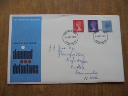S048: FDC: DECIMAL DEFINITIVES: New 4.5p, 5.5p, & 8p. First Day Of Issue 24 OCT 1973 Manchester. - FDC