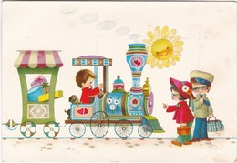 D458 CARTE POUR ENFANTS - PETIT TRAIN DE CADEAUX, CONDUIT PAR UN ENFANT, AVEC UN CHIOT. 2 ENFANTS L'ATTENDENT - Humour