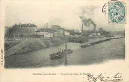 NEUILLY SUR SEINE - Vue Du Pont De Neuilly,remorqueur Et Péniches. - Remolcadores