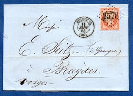 Plis / De Mulhouse /  Pour Bruyères  / 11 Janvier 1863 - Postmark Collection (Covers)