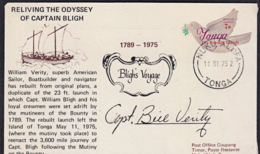 Ca5108 TONGA 1975, SG O112 Bird Stamp On Signed Cover Commemorating Capt. Bligh's Journey - Tonga (1970-...)