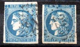 France Frankreich Y&T 46A°, 46B° (reports 1 Et 2), Zweite Wahl - 1870 Ausgabe Bordeaux