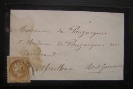 1869 (?) Lettre De Penne (agenais Lot Et Garonne) Pour Monsieur Et Madame Pouzargues à Meilhan - 1849-1876: Période Classique