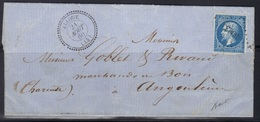 Alloue (Charente) : LAC, Càd 22 + PC 3903 Sur N°14, 21 Août 1860, Signé Baudot. - Marcophilie (Lettres)