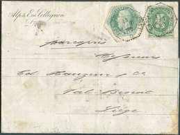 TG N°4 + Tp N°30 Obl. Télégraphique LIEGE (GUILLEMINS) Sur Lettre Du 14 Août 1880 Vers La Ville.. - 13424 - Télégraphes