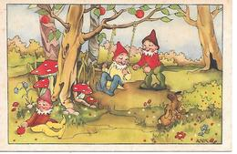 Mushroom, Funghi, Champignon, Pilze, Gnome, Gnom, Zwerg, Hare, Lièvre, Hare, Swing, Illustrator Ank - Fantasia