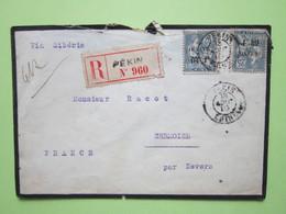 Enveloppe R.PEKIN Via Sibérie Pour SERMOISE FRANCE Par NEVERS (58) Oblitérée PEKIN 13/08/1910 CHINE - Mouchon 25c Bleu - Marcophilie (Lettres)