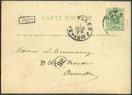 E.P. Carte 5 Centimes Vert, Obl. Sc Ambulant EST 3 Du 15 Déc. 1883 + Griffe LIEGE Vers Bruxelles. - 13427 - Postmark Collection