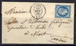 Alloue (Charente) : LSC, GC 68 Sur Napoléon N°22, Càd 22 Avec Mois à L'envers, 1866, Signée Baudot, - Marcophilie (Lettres)