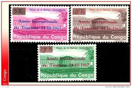 Congo 0660/62 **  Palais Des Nation  Surcharge  Tourisme  MNH - République Démocratique Du Congo (1964-71)