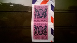 FRANCOBOLLI STAMPS HONG KONG 1982 SERIE QUEEN ELIZABETH II  SU FRAMMENTO FRANGMENT - Hong Kong (1997-...)