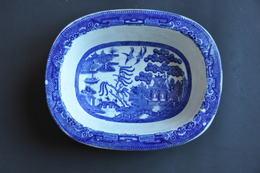 ANCIEN PETIT SALADIER RECTANGULAIRE DECOR JAPON - Staffordshire