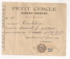 1932 TIMBRE FISCAl 25 C SUR RECU PETIT CERCLE AIGUES MORTE B451 - Fiscaux