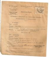 1942  TIMBRE FISCAL 6 FRCS TIMBRE DE DIMENSION  SUR PROCURATION / CACHET COMMISSAIRE DE POLICE MARSEILLE  B454 - Fiscaux