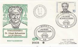Env Affr Michel 830 Obl BONN 1 Erstausgabe Du 15.01.1975 ALBERT SCHWEITZER - [7] République Fédérale