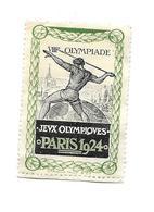 TIMBRE ERINNOPHILIE.. VIIIe OLYMPIADE.. Jeux Olympiques PARIS 1924 - Commemorative Labels