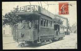 Superbe CPA Tramway à Miribel Ain  Publicité Chocolat Meunier Et Picon - Chocolate
