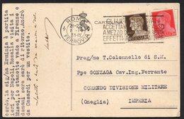 ITALY ITALIA ITALIEN 1931. POSTCARD CARTOLINA POSTALE, FERROVIA ROMA COMANDO DIVISIONE MILITARE ONEGLIA IMPERIA - Altri