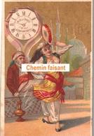 Chromo AU BON MARCHE SONNET-BESNARD - L'heure à PARIS & à CONSTANTINOPLE -  Scans Recto-verso - Au Bon Marché