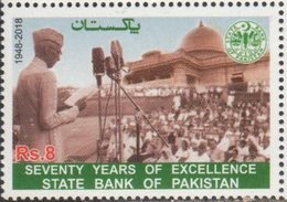 PAKISTAN, 2018, MNH,BANKS, FINANCING, 70 YEARS OF EXCELLENCE , STATE BANK OF PAKISTAN, 1v - Stamps