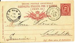 Italy Postal Stationery Postcard Sent To Germany Gallipoli 21-4-1893 Very Nice Card - Stamped Stationery