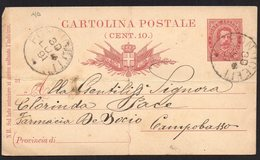 ITALY ITALIA ITALIEN 1891. POSTCARD CARTOLINA POSTALE, PONTICELLI CAMPOBASSO (FOLDED) - Italia