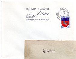COURSE AUTOMOBILE = 63 CLERMONT-FERRAND GARE 1967 = FLAMME SUPERBE = SECAP Illustrée 'Trophées D'AUVERGNE' - Postmark Collection (Covers)