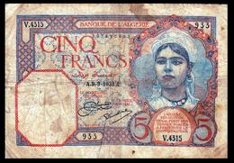 # # # Banknote Algerien (Algeria) 5 Francs 1933  # # # - Algérie