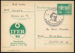 """7010 LEIPZIG 1/ """"Sieger Der Geschichte""""/ Esperanto-Messetreffen 1983 (11.3.) SSt (Kopfbild Dimitroff ?) Auf Amtl. P 10 P - Esperanto"""