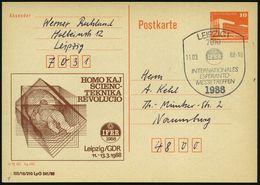 7010 LEIPZIG 1/ IFER/ INTERNAT./ ESPERANTO-/ MESSETREFFEN 1988 (11.3.) SSt Auf Amtl. P 10 Pf. PdR ,orange + Zudruck: IFE - Esperanto