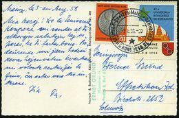 (22b) MAINZ/ 43-a UNIVERSALA KONGRESO DE ESPERANTO 1958 (3.8.) SSt (Stern) + Color-Kongreß-Vignette (Dom, Stadtwappen) K - Esperanto