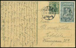 RIESA/ *1e 1914 (7.8.) 1K-Gitter Auf ESPERANTO-Vignette: Dr.Zamenhof Abgestempelt + 5 Pf. Germania (Zahnf.) Fern-Ak - Ga - Esperanto