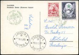 JUGOSLAWIEN 1953 (Juli) Grüner SSt: ZAGREB../XXXVIII-a UNIVERSALA KONGRESO/e/ESPERANTO 2x Auf 15 Din. Esperanto U.a., Au - Esperanto