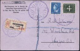 NIEDERLANDE 1947 (7.4.) Viol. SSt: HEERLEN/28A KONGRESO ASOCIO DE LABORISTAJ ESPERANTISTOJ (Stern) 3 X (1x Etw. Undeutl. - Esperanto