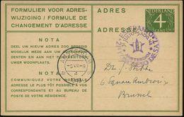 NIEDERLANDE 1948 (5.8.) Viol. SSt: AMSTERDAM/21a KONGRESO DE SAT/ESPERANTO Auf Ausl.-Adreßänderungs-P 4 C., Grün, Bedarf - Esperanto