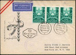 """ÖSTERREICH 1949 (25.6.) 20 Gr. """"Esperanto-Kongreß Graz"""", Reine MeF: 3er-Streifen + Sowjet.Zensur-1K (= Wien), Seltener Ü - Esperanto"""